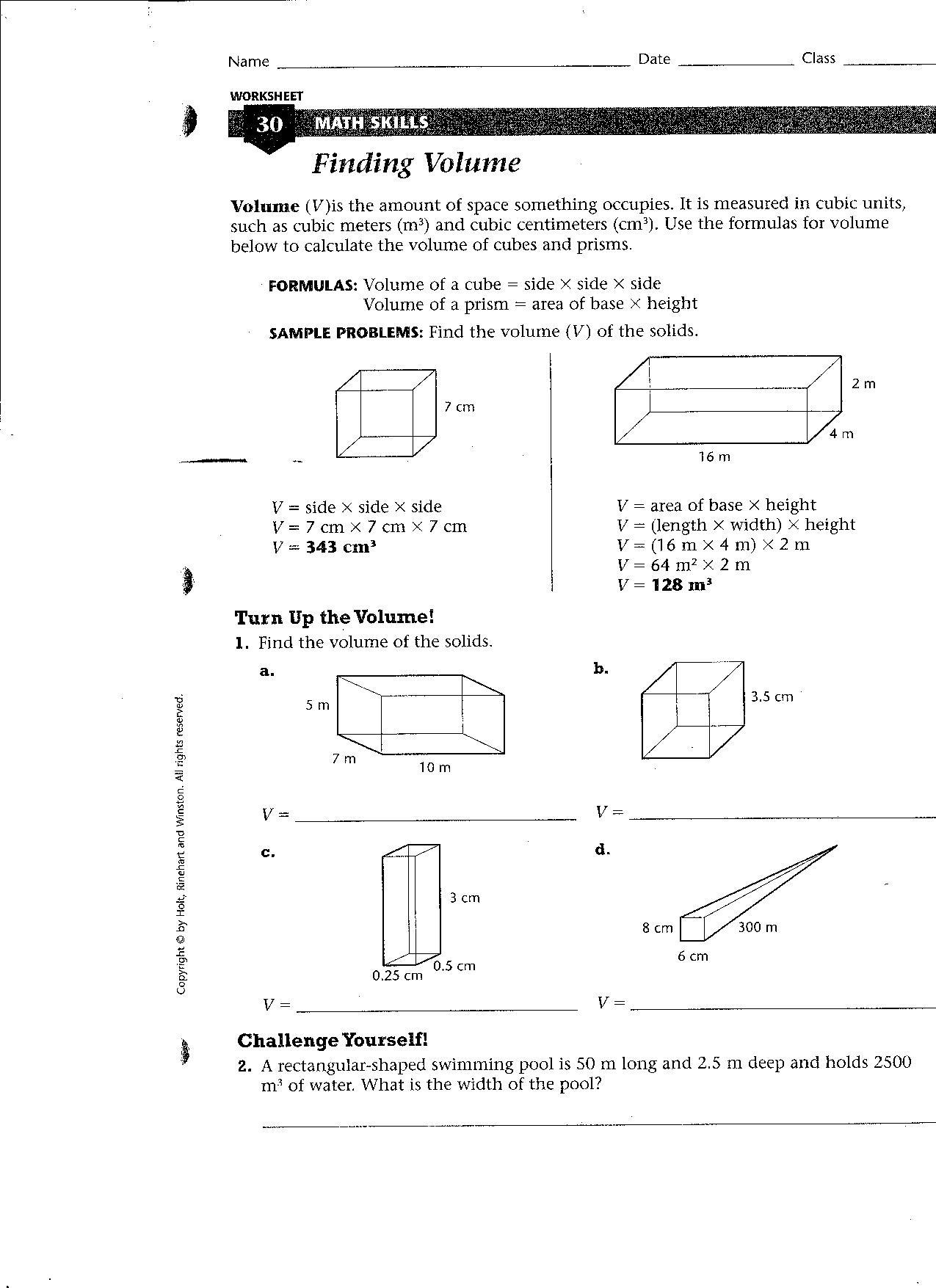 2 Finding Volume Worksheet
