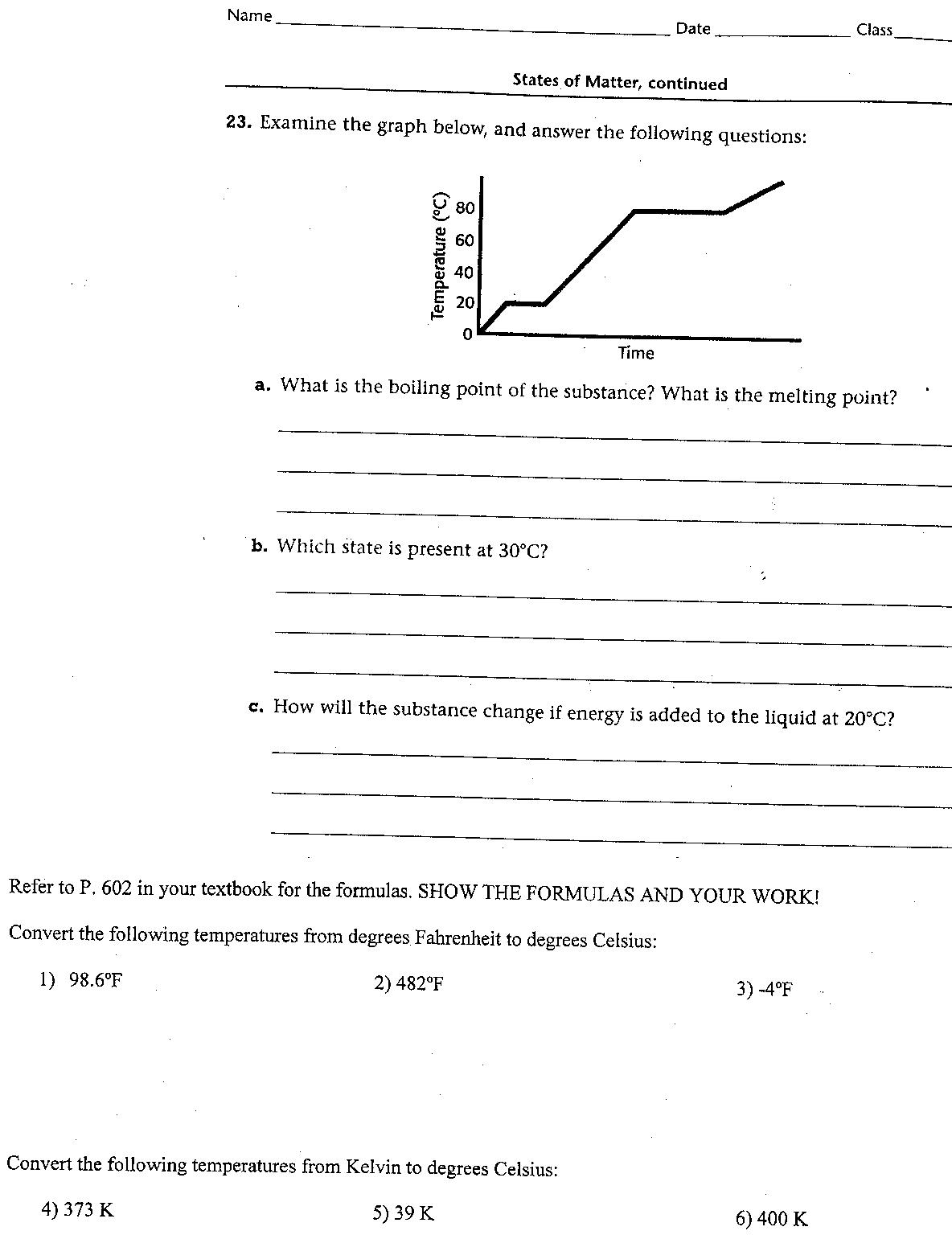 Heating Heating Curve Worksheet