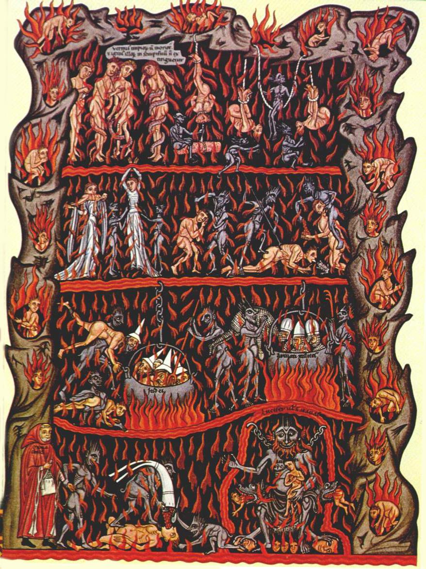L'enfer dans l' Hortus Deliciarum de Herrade de Landsberg (autour de 1180)