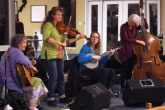 Battleaxe, an all female strings band from Greenville, SC, provided the music for the ContraCola dance on Feb. 18. Amy Buckingham plays fiddle, Lucy Allen is on guitar, Brooke Lauer is on banjo, and Nancy Hamilton plays bass.