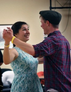 Hannah Fakoury and Kolman McMurphy dance the Waltz during the ContraCola dance on Feb. 18. They have been attending dances for over a year.