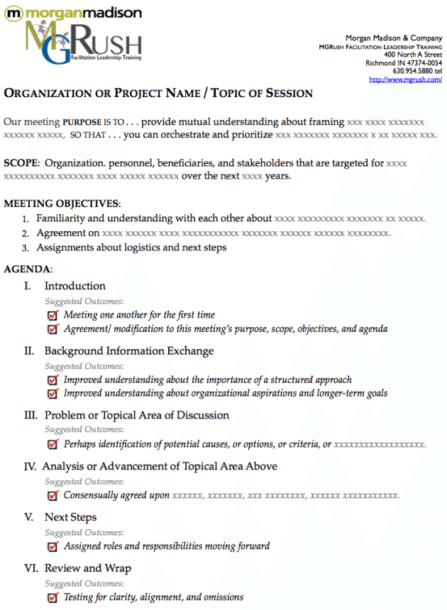 The Best One Page Agenda Template for a One Hour Meeting - MG Rush ...