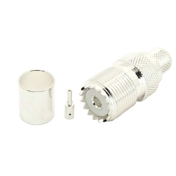 7506-UHF-400 UHF female crimp-on connector for LMR-400 and large diameter coax