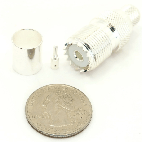 7506-UHF-400 UHF female crimp-on for LMR-400 and large diameter coax size comparison