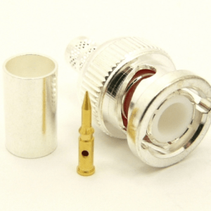 BNC-male, cable end, crimp-on for RG-223 RG-59 LMR-240 and RG-8X mini 8 (P/N: 7005-8X)