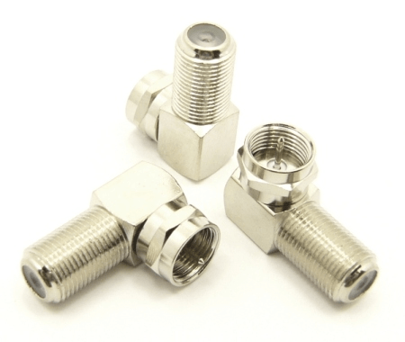 F-male / F-female Adapter, Right Angle (P/N: 7225-RA)