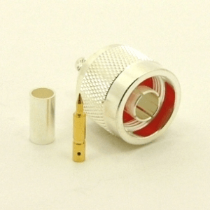N-male, Cable end, crimp-on, Silver plated brass, Teflon Dielectric, gold pin, for RG-142, RG-400, RG-58, RG-58A/U, LMR-195, LMR-200, Belden 7807, Belden 8219, Belden 8259, and Belden 9201 coaxial cable. (P/N: 7305-58)