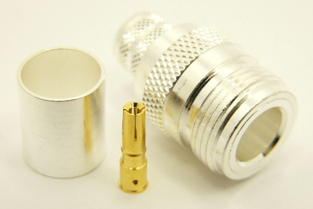 N-female, cable end, crimp-on, silver plated brass body, Teflon dielectric, gold pin, for for RG-8, RG-11, RG-83, RG-213, RG-214, RG-393, LMR-400, Belden 8237, Belden 8267, Belden 8268, Belden 9011, and Belden 9913 coaxial cable. (P/N: 7306-400)