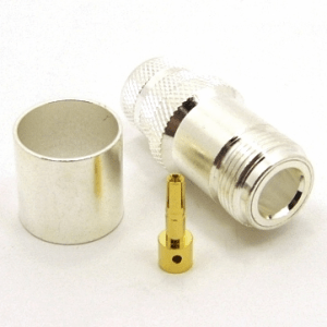 N-female, Cable end, crimp-on, silver plated brass body, Teflon dielectric, gold pin, for LMR-600 coaxial cable. (P/N: 7306-600)