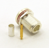 N-female, bulkhead, cable end, crimp on, silver plated brass body, Teflon dielectric, gold pin, for RG-142, RG-400, RG-58, RG58A/U, LMR-195, LMR-200, Belden 7807, Belden 8219, Belden 8259, and Belden 9201 coaxial cable. (P/N: 7307-58)