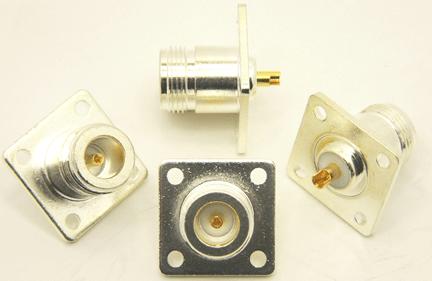 N-female, silver / Teflon, 4 hole panel mount (P/N: 7317-400)