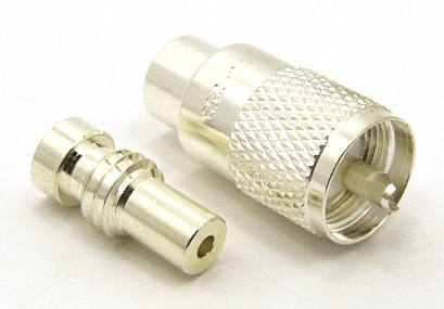 PL-259, UHF-male, cable end, solder-on, silver / Teflon, plus 1x UG-174 (SKU #: 7506-S) Reducer for UHF-male, solder on, connectors. UG-174 for LMR-100, RG-142, RG-174, RG-178, RG-188, RG-196, RG-316, and Belden 8216 coaxial cable. (P/N: 7500-174)