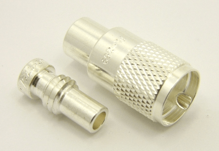 PL-259, UHF-male, cable end, solder-on, silver / Teflon, plus 1x UG-175 (SKU#: 7507-S) Reducer for UHF-male, solder on, connectors. UG-175 for RG-142, RG-400, RG-58, RG-58A/U, LMR-195, LMR-200, Belden 7807, Belden 8219, Belden 8259, and Belden 9201 coaxial cable. (P/N: 7500-58)
