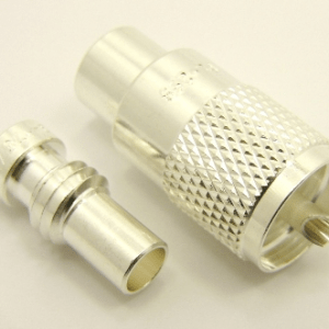 PL-259, UHF-male, cable end, solder-on, silver / Teflon, plus 1x UG-176 (SKU #: 7508-S) Reducer for UHF-male, solder on, connectors. UG-176 for RG-223, RG-59, RG-6, RG-62, RG-8X, LMR-240, Belden 7916A, Belden 8241, and Belden 9258 coaxial cable. (P/N: 7500-8X)