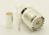 UHF-female, cable end, crimp-on, silver / Teflon for RG-142, RG-400, RG-58, RG-58A/U, LMR-195, LMR-200, Belden 7807, Belden 8219, Belden 8259, Belden 9201 coaxial cable. (P/N: 7506-58)