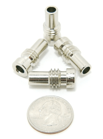 Reducer for UHF-male and N-male solder-on connectors, Nickel plated, UG-175 (P/N: 7507-N)