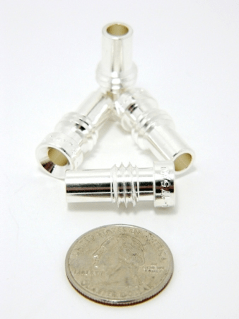 Reducer for UHF-male and N-male solder-on connectors, Silver plated, UG-175 (P/N: 7507-S)