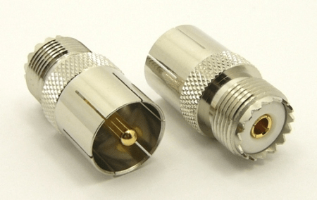 UHF-male / UHF-female Adapter, Quick Connect (P/N: 7530-QC)