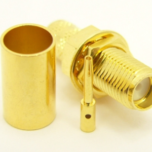 SMA-female bulkhead, cable end, crimp-on for RG-223 RG-59 LMR-240 and RG-8X mini 8 (P/N: 7807-8X)