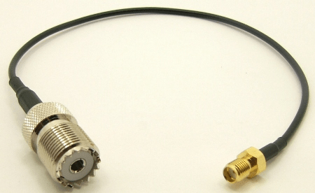 UHF-female / SMA-female with 10 inches of RG-174 coaxial cable (P/N: 7839-CBL-10)
