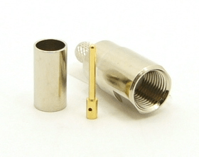 FME-male, cable end, crimp-on, nickel for RG-142, LMR-200, RG-316, RG-400, RG-58, and Belden 7807 coaxial cable. (P/N: 7905-58)