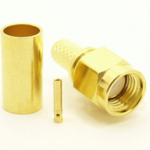 RP-SMA-male, cable end, crimp-on, for RG-142, RG-400, RG-58, RG-58A/U, LMR-195, LMR-200, Belden 7807, Belden 8219, Belden 8259, and Belden 9201 coaxial cable. (P/N: 8895-58)