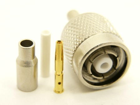 RP-TNC-male, cable end, crimp-on, for RG-174, RG-178, RG-188, and Belden 8216 coaxial cable. (P/N: 8900-174)