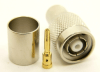 RP-TNC-male, cable end, crimp-on, nickel / Delrin for RG-8, RG-213, LMR-400, and Belden 9913 size coaxial cable. (P/N: 8900-400)
