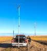Heavy Duty mast partially raised on a hitch mount for mounting a heavier antenna