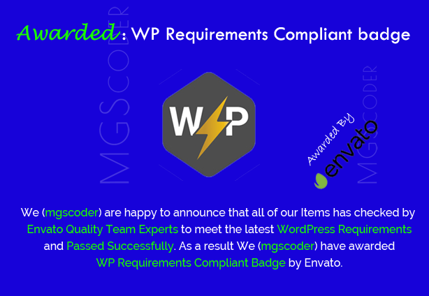 Awarded wp requirements compliant badge