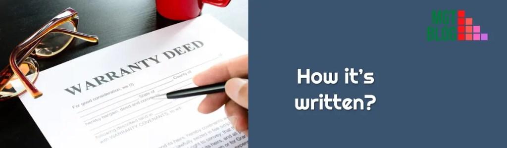 Warranty Deed how it's written_