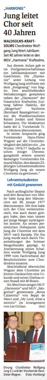 07.07.2017 Jung leitet Chor seit 40 Jahren