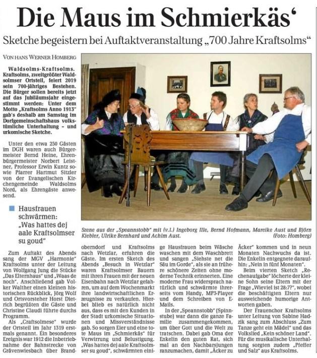 08 11 2010 die maus im schmierkaes - Zeitungsberichte