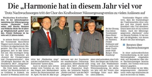 09 04 2011 die harmonie hat in diesem jahr viel vor - Zeitungsberichte