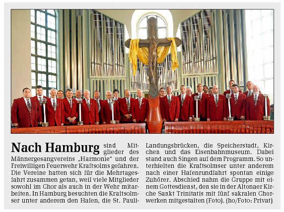 19 06 2009 mgv kraftsolms fuhr nach hamburg - Zeitungsberichte