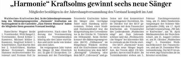 21 01 2010 harmonie kraftsolms gewinnt sechs neue saenger - Zeitungsberichte