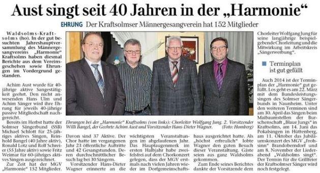 23 01 2014 aust singt seit 40 jahren in der harmonie - Zeitungsberichte