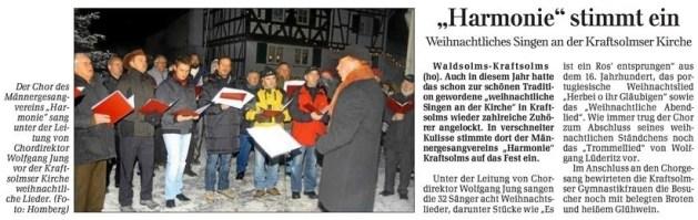 24 12 2010 harmonie stimmt ein - Zeitungsberichte