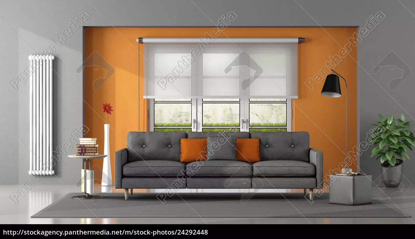Gray Orange Living Room Royalty Free Photo 24292448 Panthermedia Stock Agency