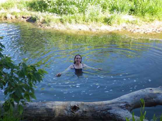 Finally, a well deserved dip in the Spanish Fork River.