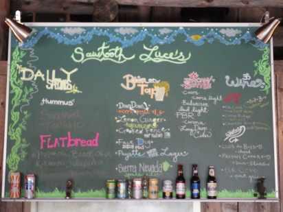 Sawtooth Sally's menu board in Stanley, ID.