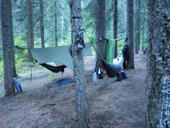 The camp at Swinging Bridge, ID.