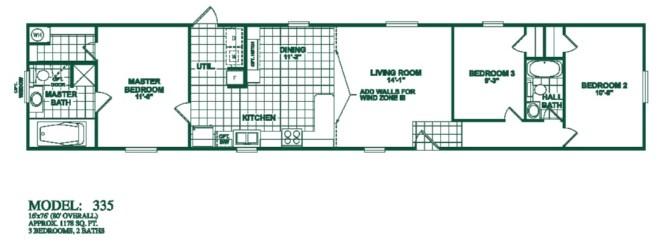 Model 325 16x76 3bedroom 2bath Oak Creek Mobile Floor Plans San Antonio Manufactured Homes