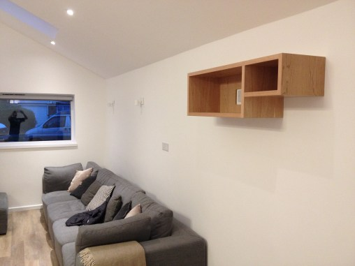 Sonos music centre shelving made from American Cherry