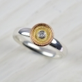 sterling silver, red, rose and yellow 18ct gold with diamond