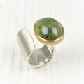 silver and 22ct gold with rutillated prehnite
