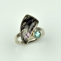 silver and 18ct white with rutilated quartz and apatite (£590 sold)