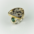 22ct gold and silver with dendritic agate and green tourmaline (£735)