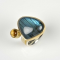22ct, finegold and silver with labradorite and rutilated quartz (sold)