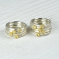 silver and finegold with diamond (£175 per ring, sold)